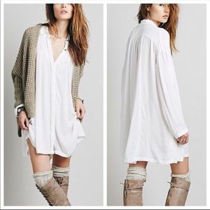 Free People Spin Me White Oversized Shirt Dress